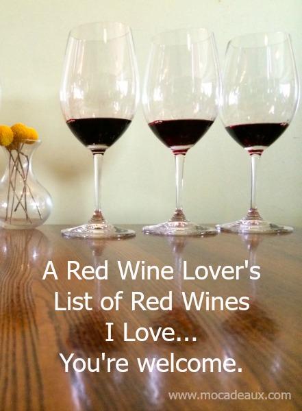 Mocadeaux - red wine list