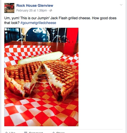 Rock House Glenview Facebook Grilled Cheese