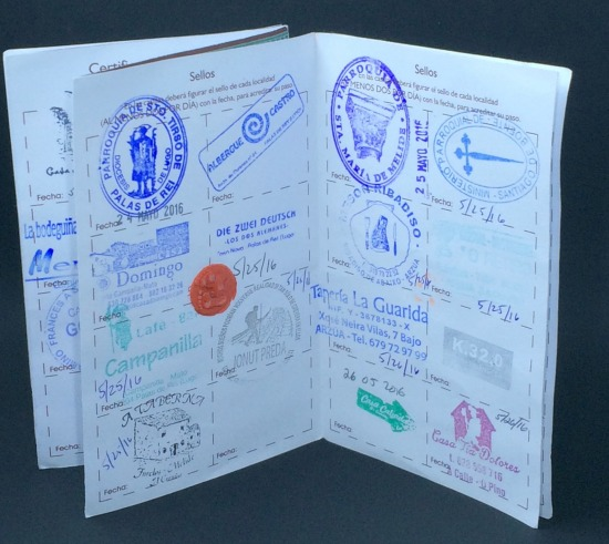 Stamps in pilgrim passport on The Camino