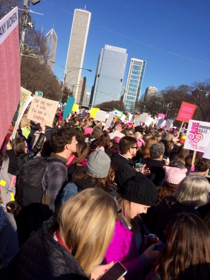 women's march Chicago marching