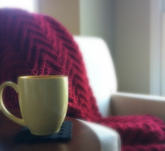 hygge with blanket and coffee