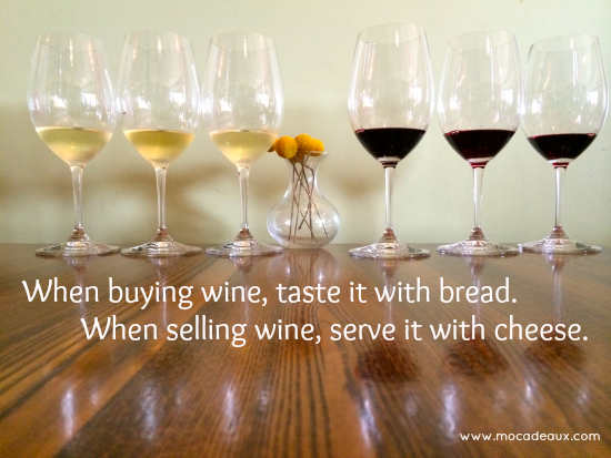 Taste wine with bread