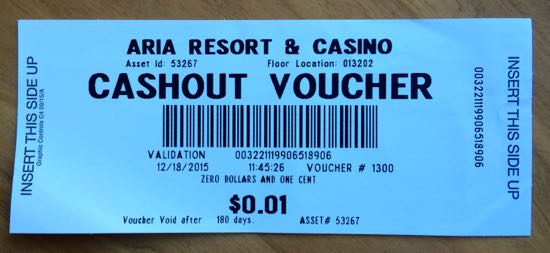 Las Vegas cash out voucher