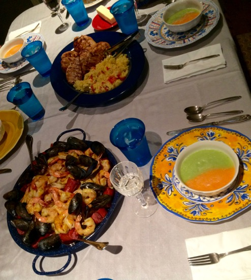 paella and two melon soup