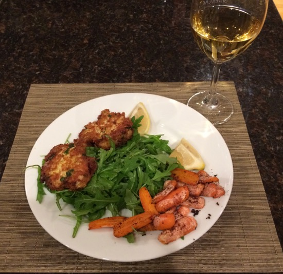 crab cakes with Brewer-Clifton Chardonnay
