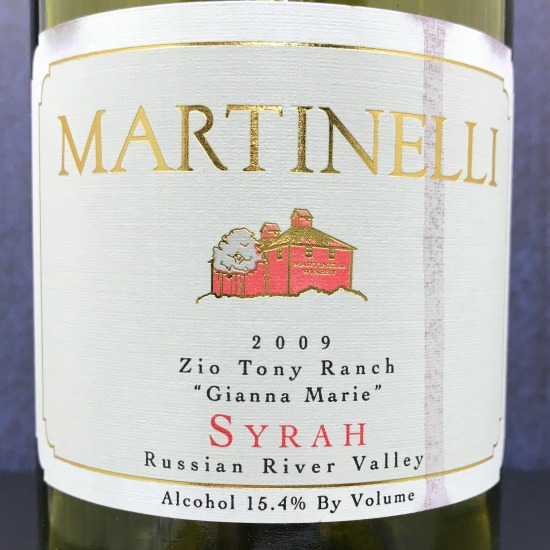 "2009 Martinelli Zio Tony Ranch ""Gianna Marie"" Syrah"